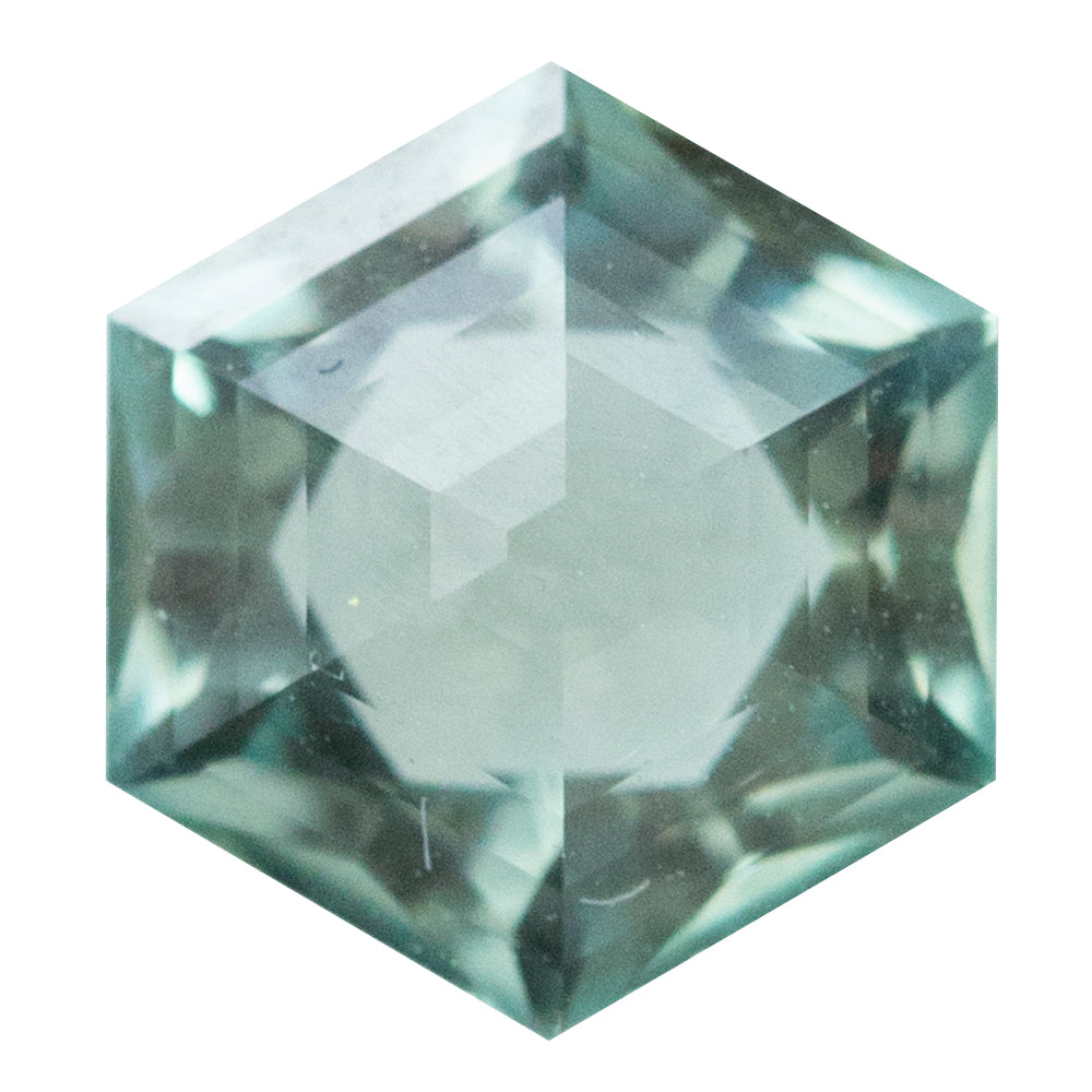 1.21CT HEXAGON ROSECUT MONTANA SAPPHIRE, SEAFOAM GREEN, 6.8x5.9MM