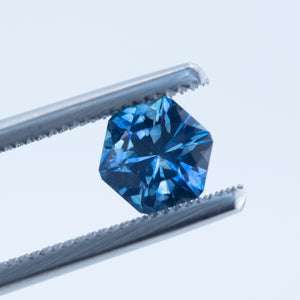 1.22CT HEXAGON MONTANA SAPPHIRE, OCEAN BLUE, 6.6MM