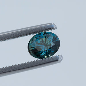 1.22CT OVAL MONTANA SAPPHIRE, DEEP BLUE WITH TEAL, 6.8X5.5MM