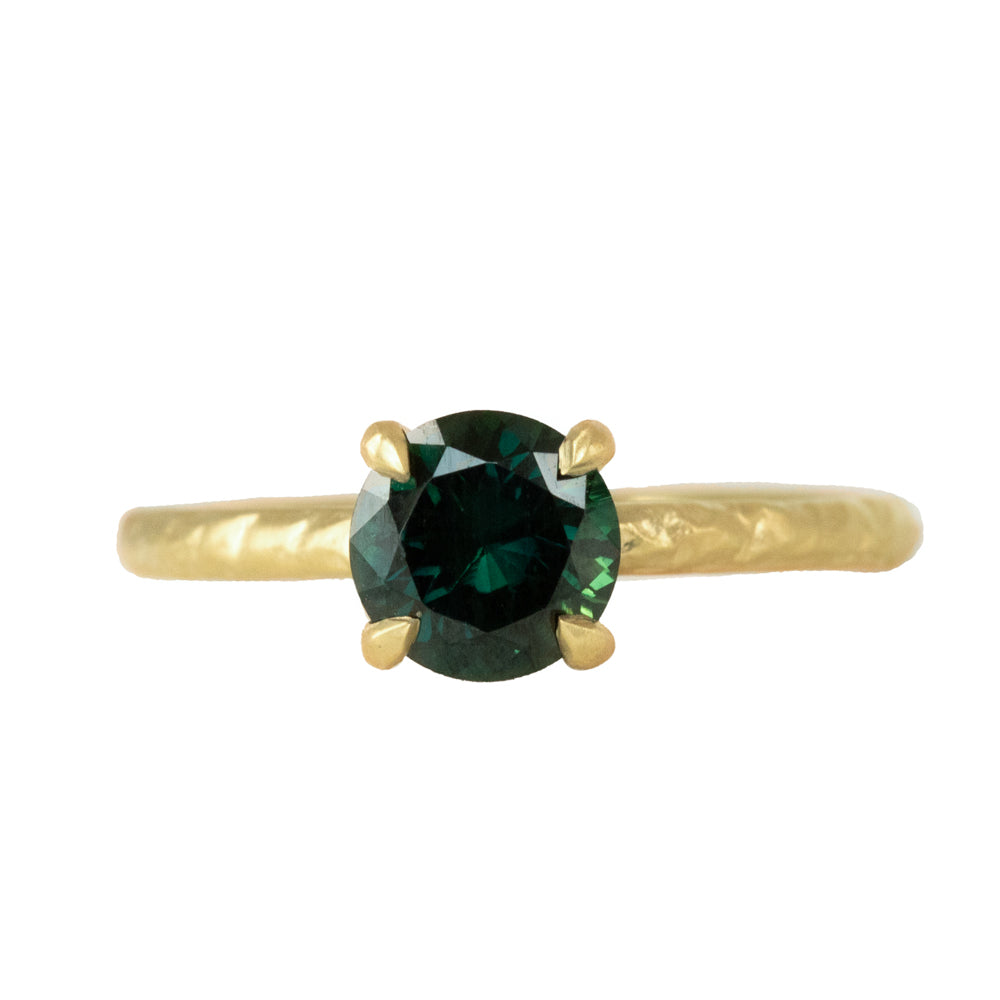 1.23ct Round Teal Australian Green Sapphire Evergreen Solitaire in Satin 18k Yellow Gold