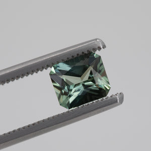 1.25CT RADIANT CUT MADAGASCAR SAPPHIRE, LIGHT MINTY GREEN BLUE, 6.8X5.9MM