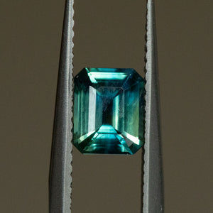 1.27CT MADAGASCAR EMERALD CUT SAPPHIRE, PARTI BLUE GREEN, 6.86X5.54MM
