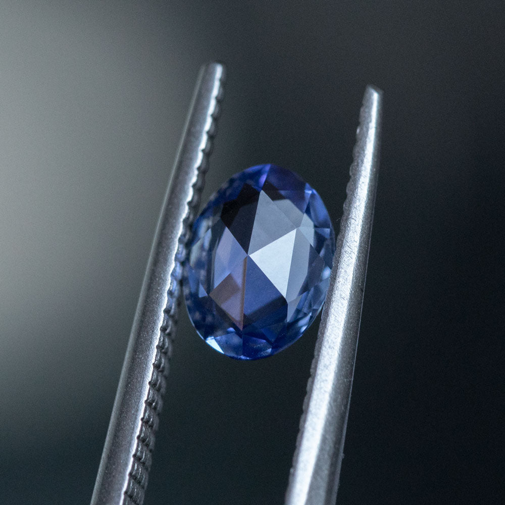 1.28CT OVAL ROSECUT CEYLON SAPPHIRE, PURPLE-BLUE, 7.91X6.12MM
