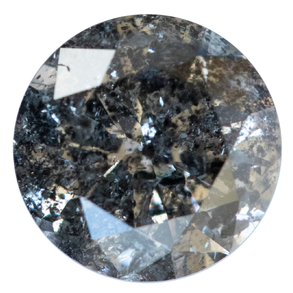1.31CT ROUND SALT AND PEPPER DIAMOND, DARK GREY WITH GLITTER, 6.81X4.29MM
