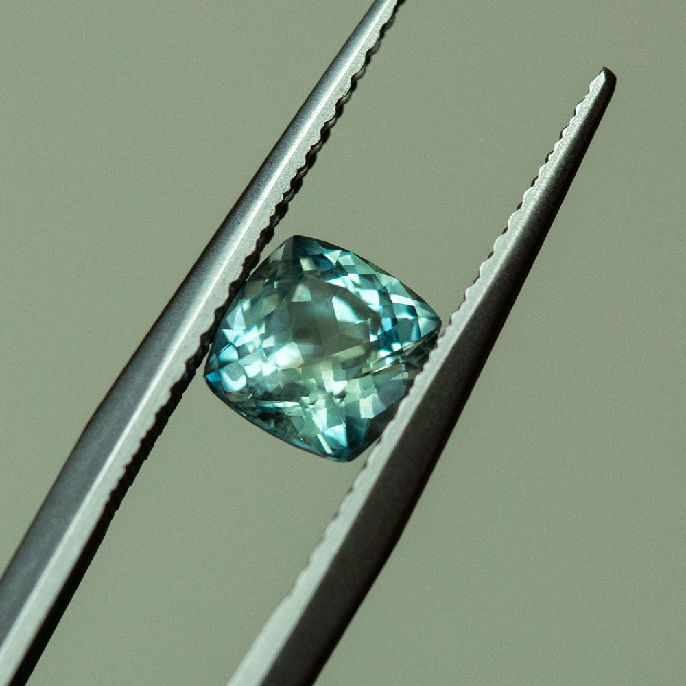 1.31CT CUSHION MONTANA SAPPHIRE, MEDIUM TEAL GREEN, 5.8MM