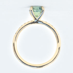 1.32ct Nigerian Sapphire Solitaire Ring with Diamonds in 14k Yellow Gold