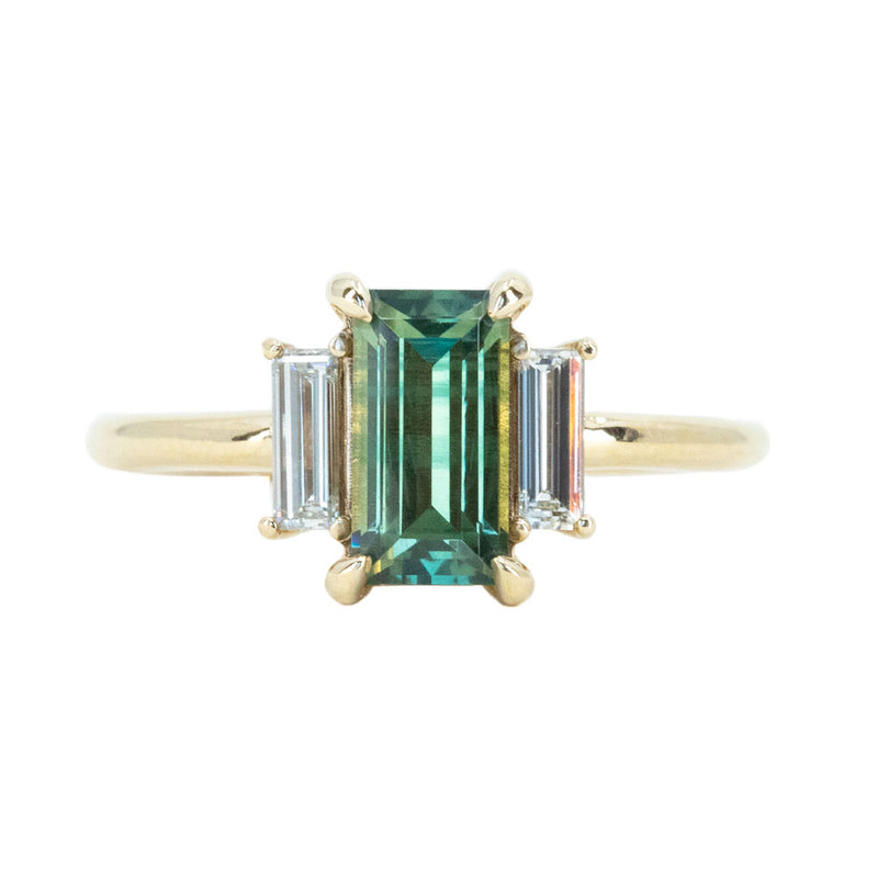 1.33ct Parti Green Emerald Cut Sapphire and Diamond Low Profile Three Stone Ring in 14k Yellow Gold