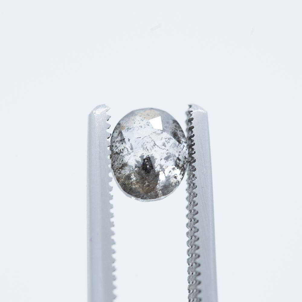 1.34CT OVAL SALT AND PEPPER DIAMOND, 6.97X5.72MM