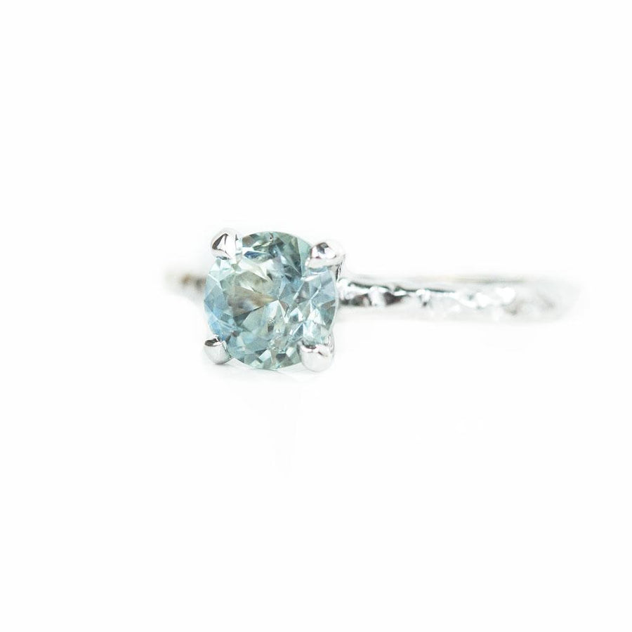 1.34ct Seafoam Green Round Montana Sapphire in 14k White Gold Evergreen Solitaire Engagement Ring