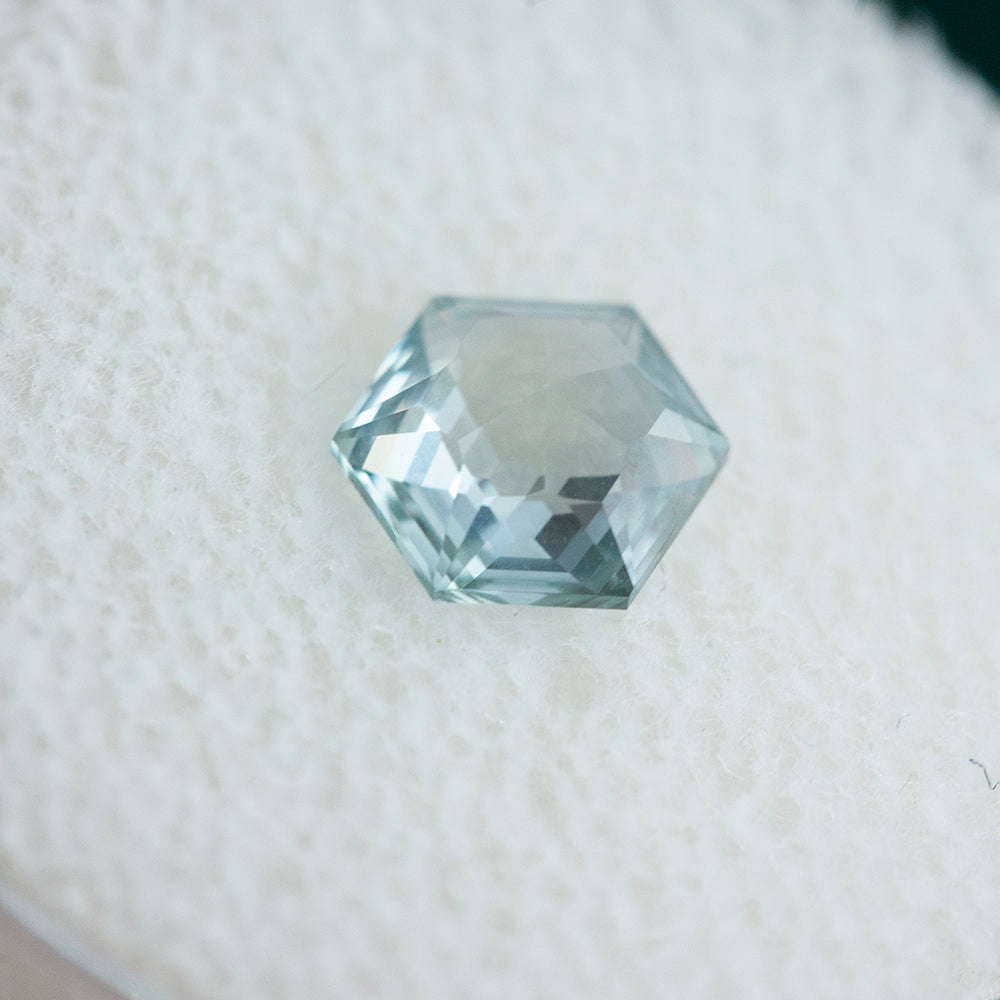 1.35CT HEXAGON ROSECUT MONTANA SAPPHIRE, SEAFOAM GREEN, 6.21X7.3MM