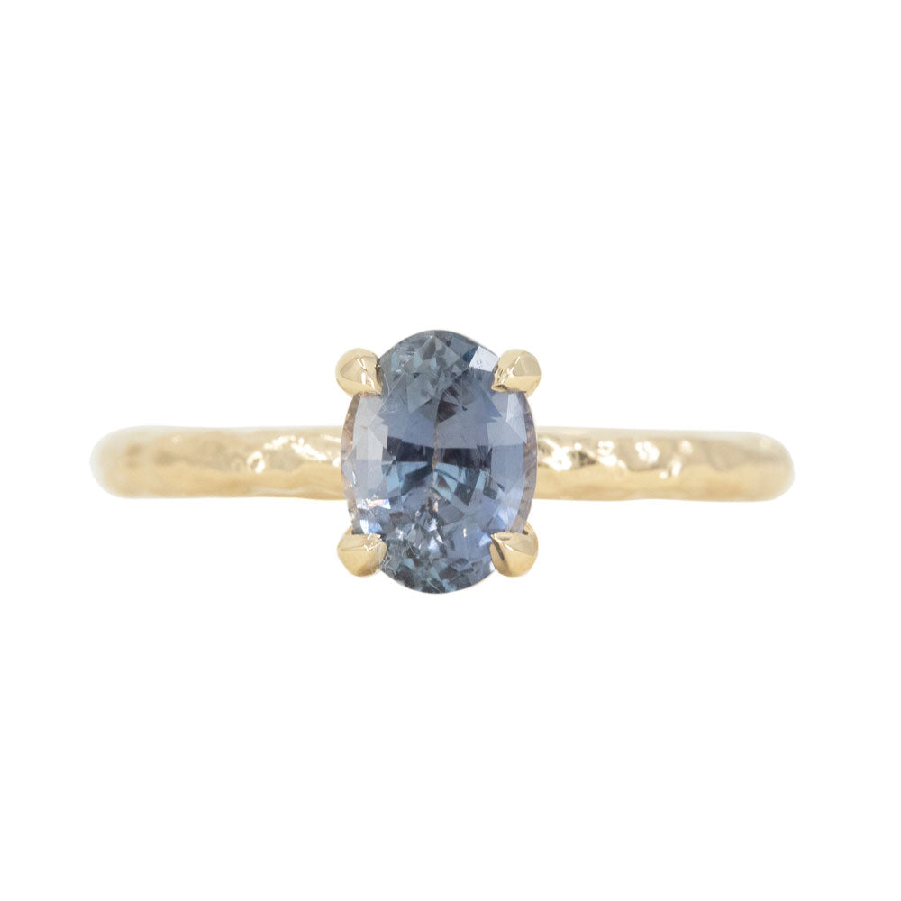 1.36ct Oval Purple Madagascar Sapphire Evergreen Solitaire Ring in 14k Yellow Gold