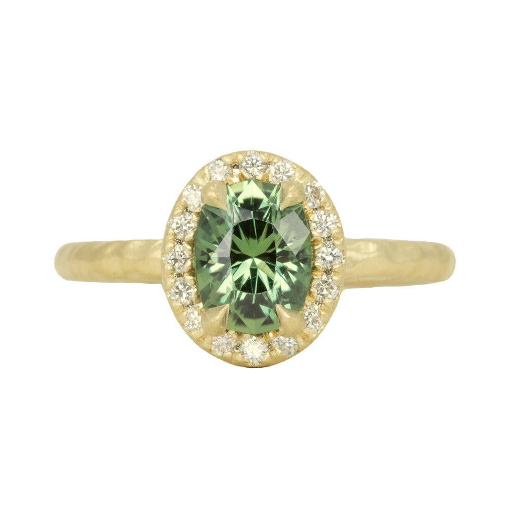 1.38ct Oval Green Montana Sapphire 18k Yellow Satin Evergreen Halo Ring