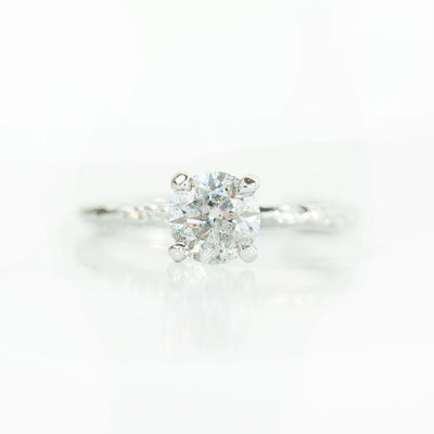 1.03ct Silvery White Salt and Pepper Diamond Evergreen 4 Prong Solitaire in 14k White Gold