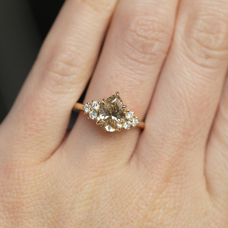 1.49ct Pear Champagne Diamond and White Diamond Cluster ring in 14k Yellow Gold