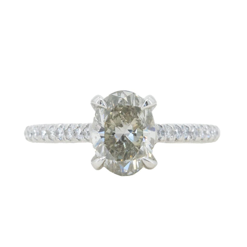 1.50ct Oval Grey Diamond and French Set Diamond Cathedral 4 Prong Solitaire in Platinum