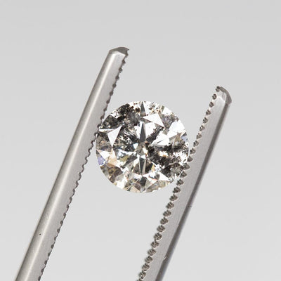 1.51CT ROUND SALT AND PEPPER DIAMOND, MOODY WITH SPARKLE, 7.24MM