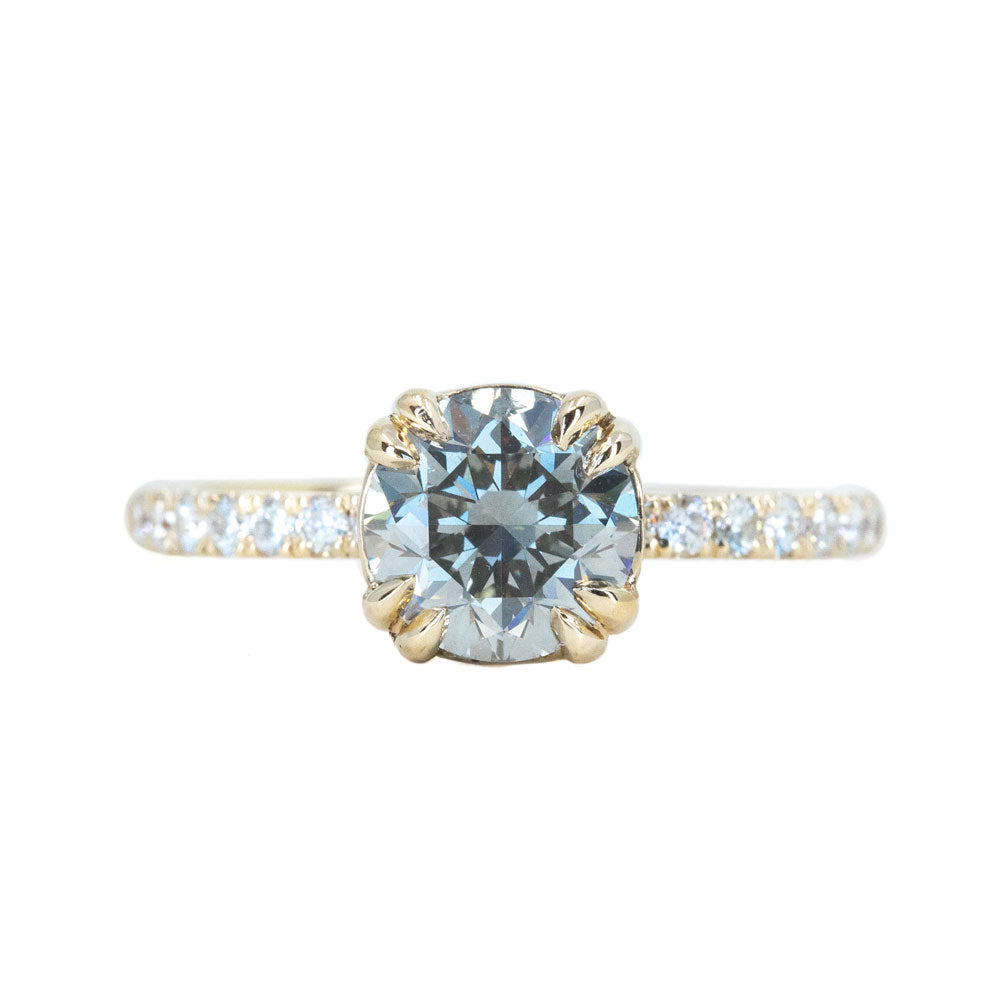 1.51ct Round Grey Diamond and French Set Double Prong Solitaire in 14k Yellow Gold