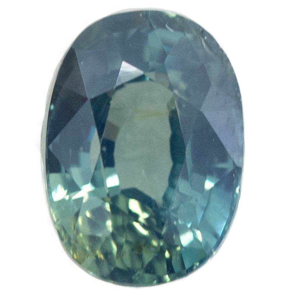 1.52CT OVAL AUSTRALIAN SAPPHIRE, TEAL BLUE GREEN, UNHEATED, 5.40X7.51MM