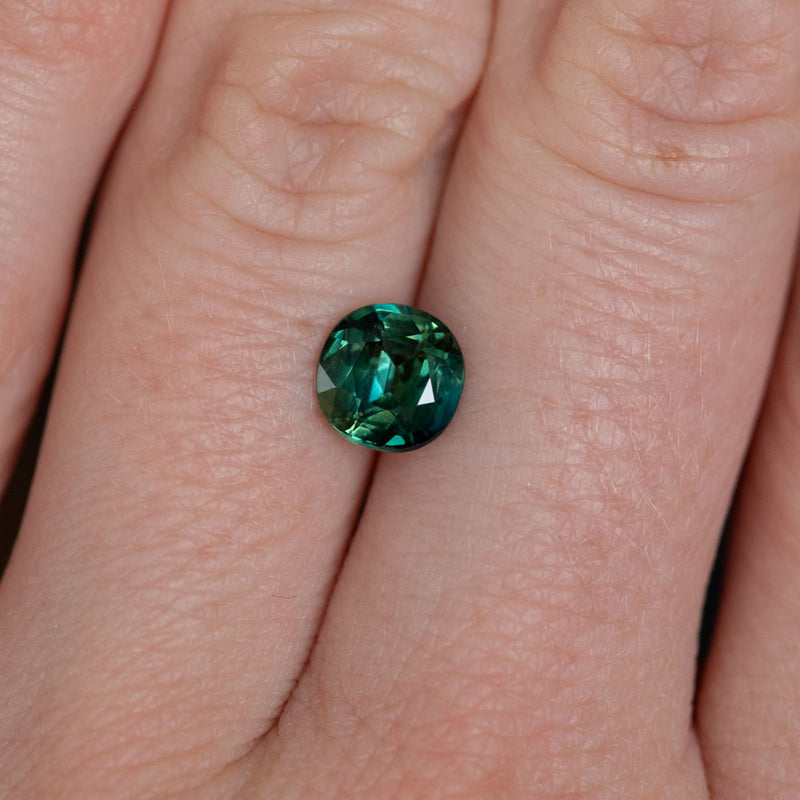 1.52CT CUSHION MADAGASCAR SAPPHIRE, MEDIUM TEAL GREEN, UNHEATED, 6.70X6.61X3.96MM