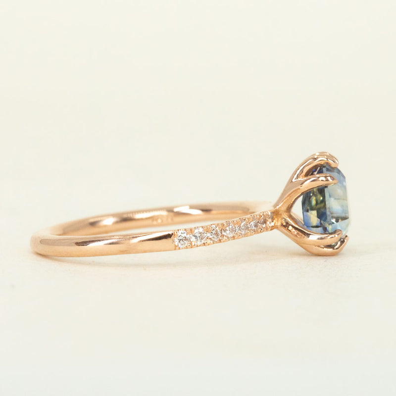 1.53ct Geometric Blue Sapphire Solitaire Ring with Diamonds in 14k Rose Gold