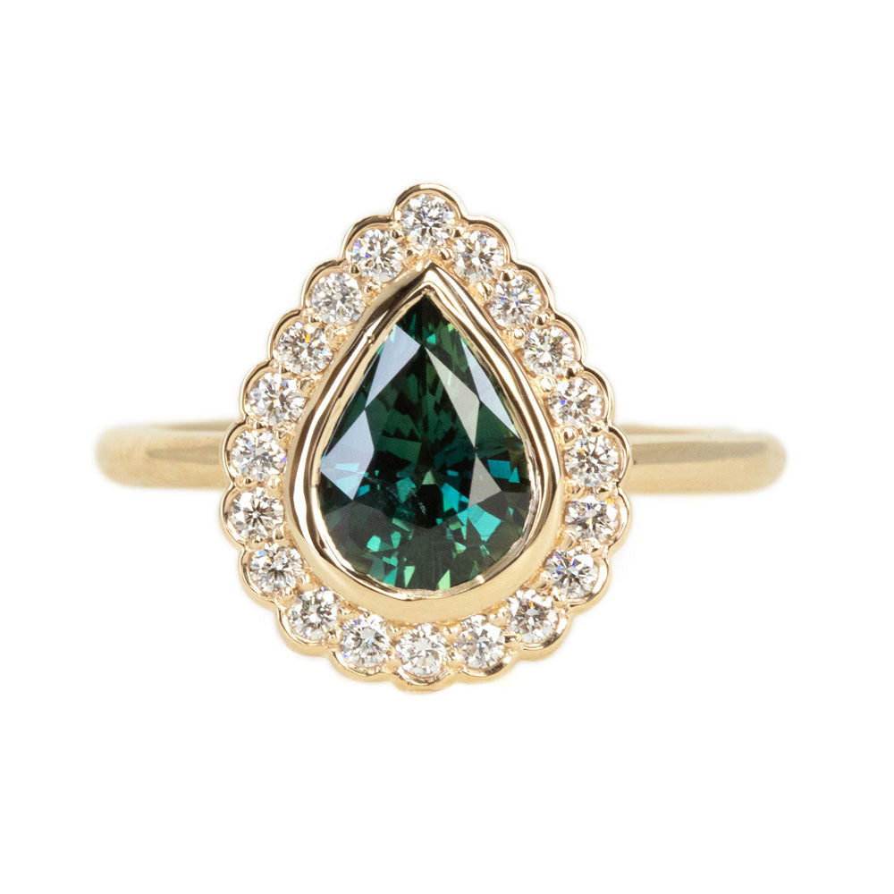 1.54ct Pear Sapphire and Scalloped Antique Style Diamond Halo Ring in 14k Yellow Gold