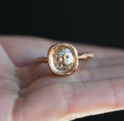 1.54ct Old Cushion Cut Bezel Rose Gold Ring in 18k Rose