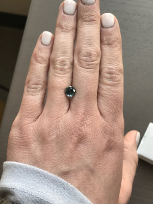 Custom Order- 1.58ct 6.7mm Montana Sapphire ring in 14k white gold halo setting reserved for A. Payment 1