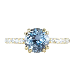 1.59ct GIA Purple Grey Sapphire Double Claw Prong Solitaire with Diamonds in 18k Yellow Gold