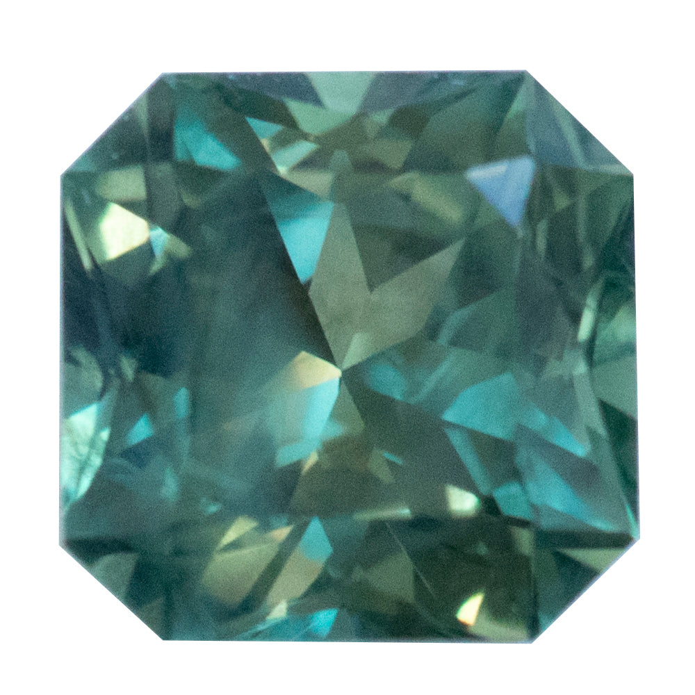 1.59CT SQUARE RADIANT CUT MONTANA SAPPHIRE, MEDIUM MINTY GREEN TEAL, UNHEATED,6.49X6.48MM
