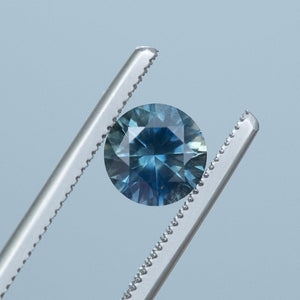 1.59CT ROUND MONTANA SAPPHIRE, PRECISION CUT, VIBRANT TEAL BLUE GREEN, 7MM