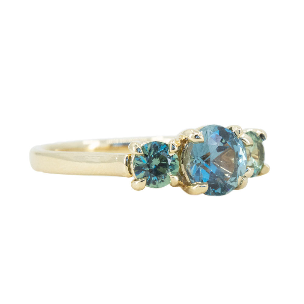 1.59ct Center Montana Sapphire Three Stone Ring in 14k Yellow Gold