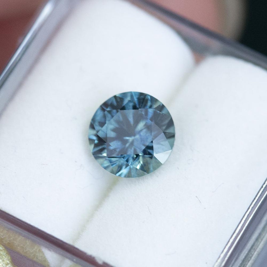 1.50CT ROUND MONTANA SAPPHIRE, PRECISION CUT, BRIGHT BLUE GREEN, 6.8MM