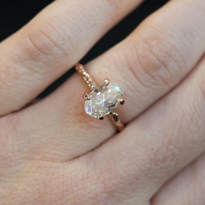 1.5ct Antique Oval Cut Moissanite Ring in 14k Rose Gold Evergreen 4 Prong Solitaire