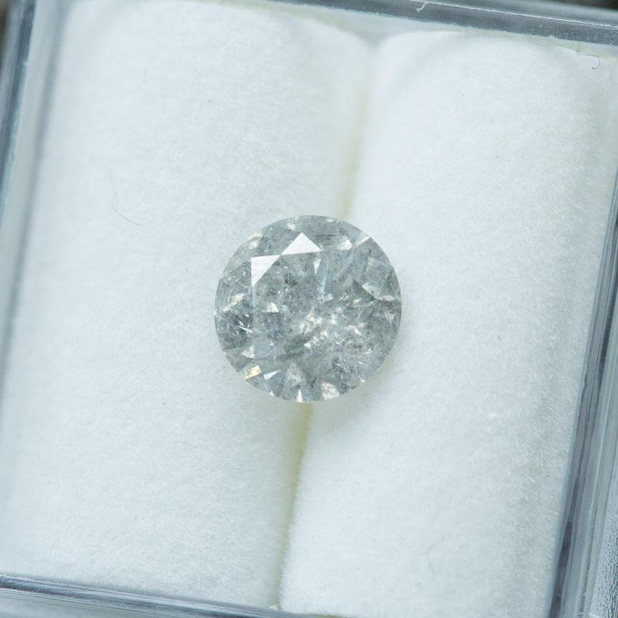 1.16CT ROUND BRILLIANT DIAMOND, MEDIUM SILVER GREY SALT AND PEPPER, 6.7X4.1MM