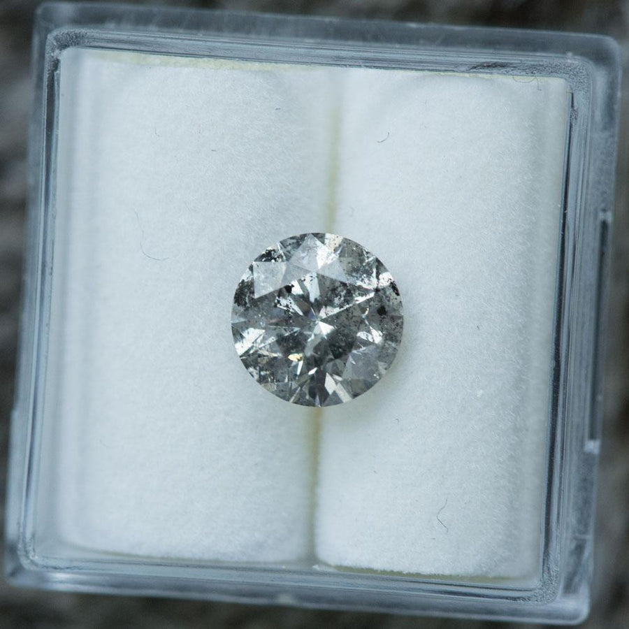 1.61CT ROUND BRILLIANT DIAMOND, FANCY GRAY, SALT AND PEPPER, GIA, 7.38X4.7MM