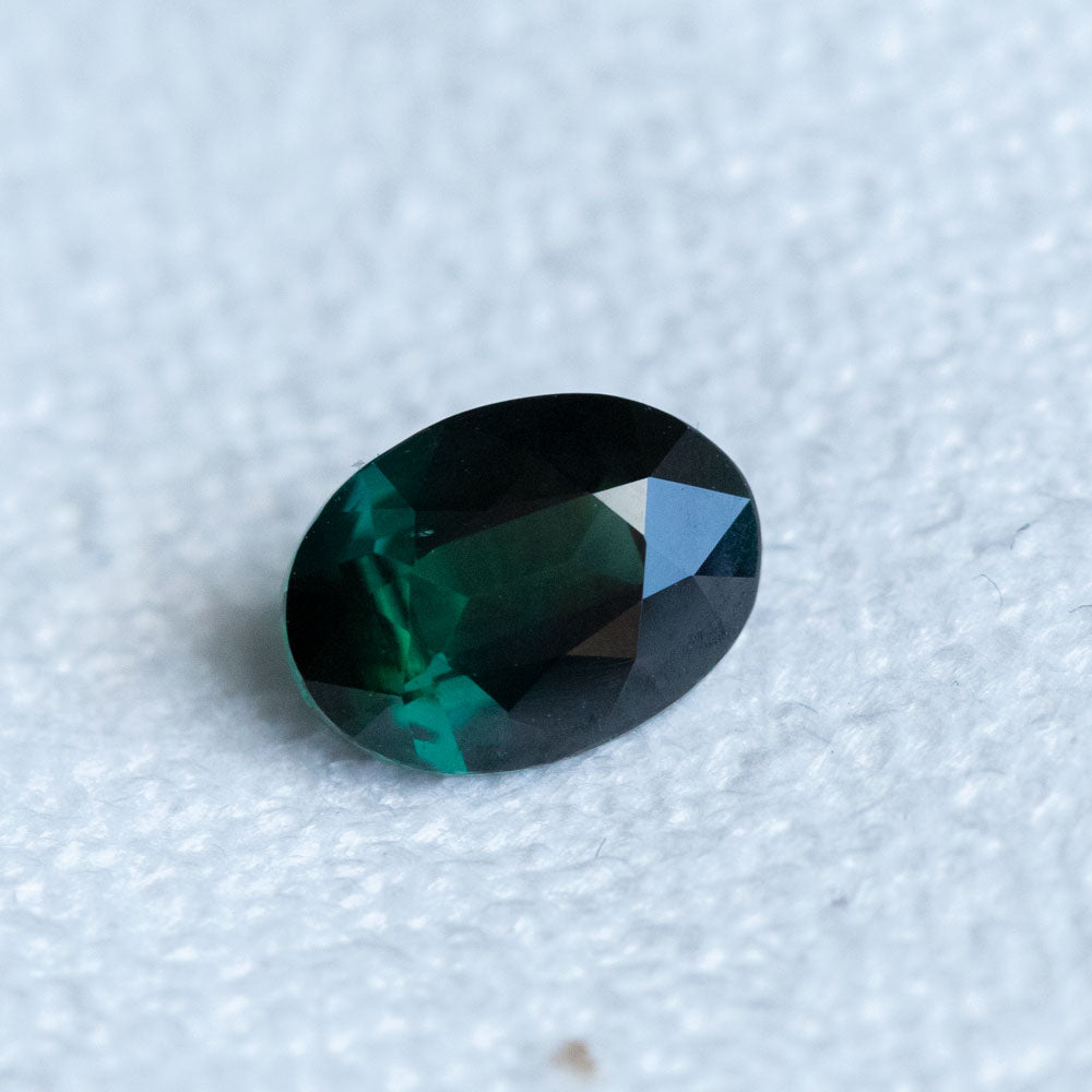 1.61CT OVAL MADAGASCAR SAPPHIRE, DEEP GREEN, 8.26X6.11MM