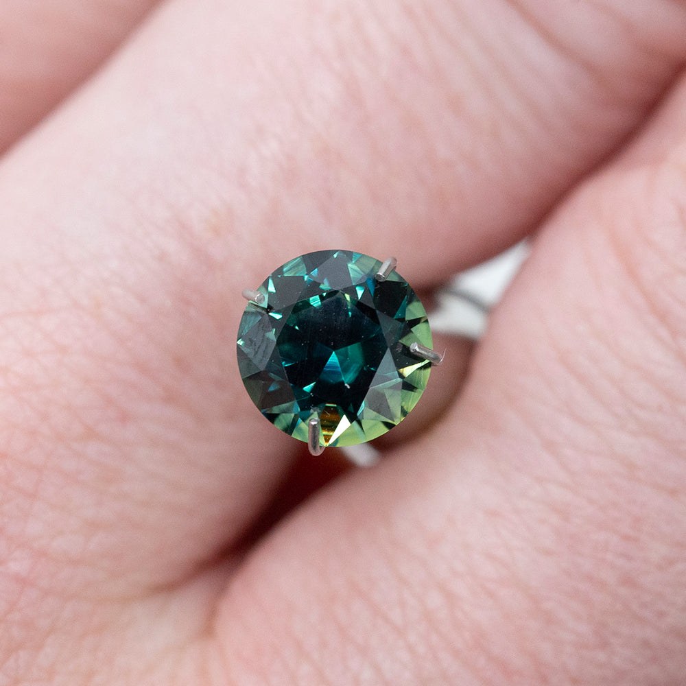 1.62CT ROUND AUSTRALIAN SAPPHIRE, TEAL BLUE GREEN, UNHEATED, 7.09MM