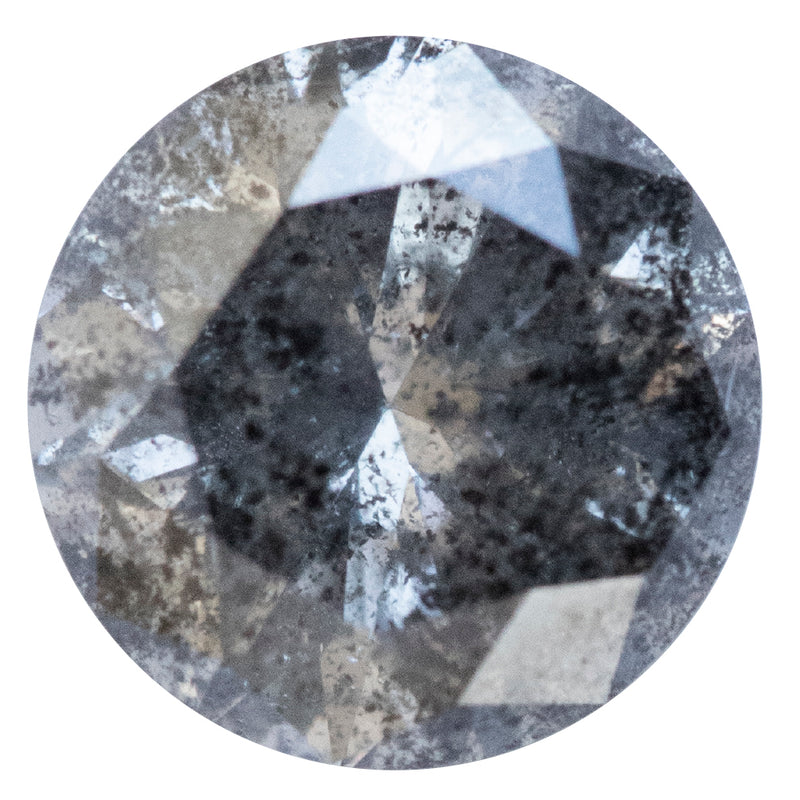 1.63CT ROUND SALT AND PEPPER DIAMOND, DARK GREY, 7.32X4.71MM