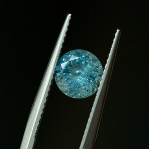 1.64CT ROUND MONTANA SAPPHIRE, DUSTY TEAL BLUE, 6.9X4.5MM, UNTREATED