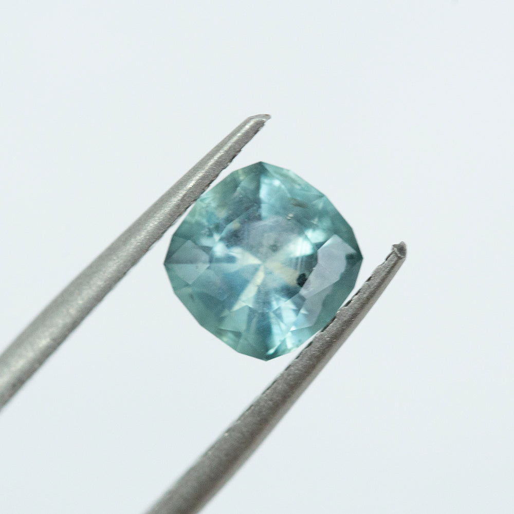 1.65CT SQUARE CUSHION CUT MONTANA SAPPHIRE, TEAL BLUE GREEN, UNHEATED, 7.1MM