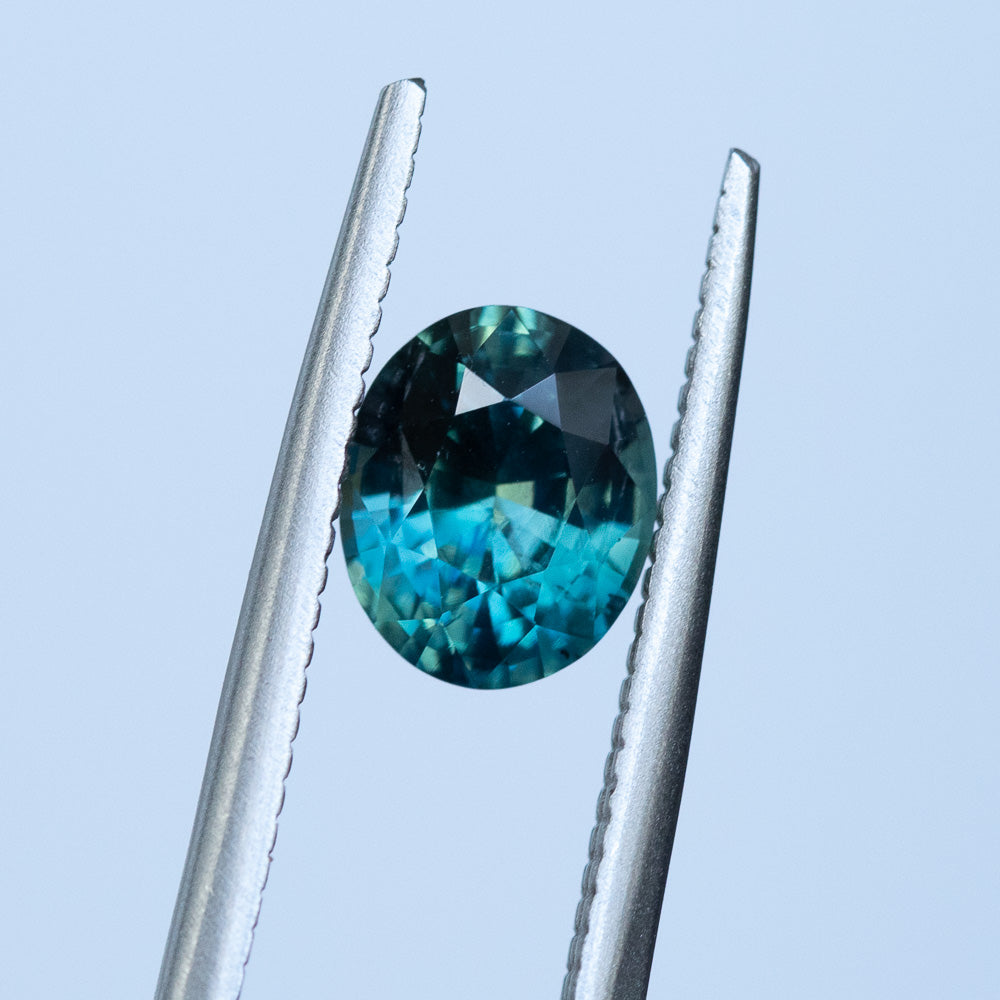 1.66CT OVAL MADAGASCAR SAPPHIRE, TEAL BLUE GREEN, 7.71X6.34MM