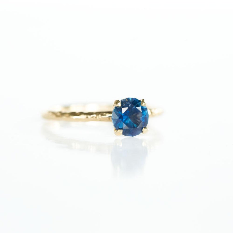 1.66ct Bright Blue Round Solitaire Unheated Sapphire Ring in 14k Yellow Gold Evergreen Solitaire