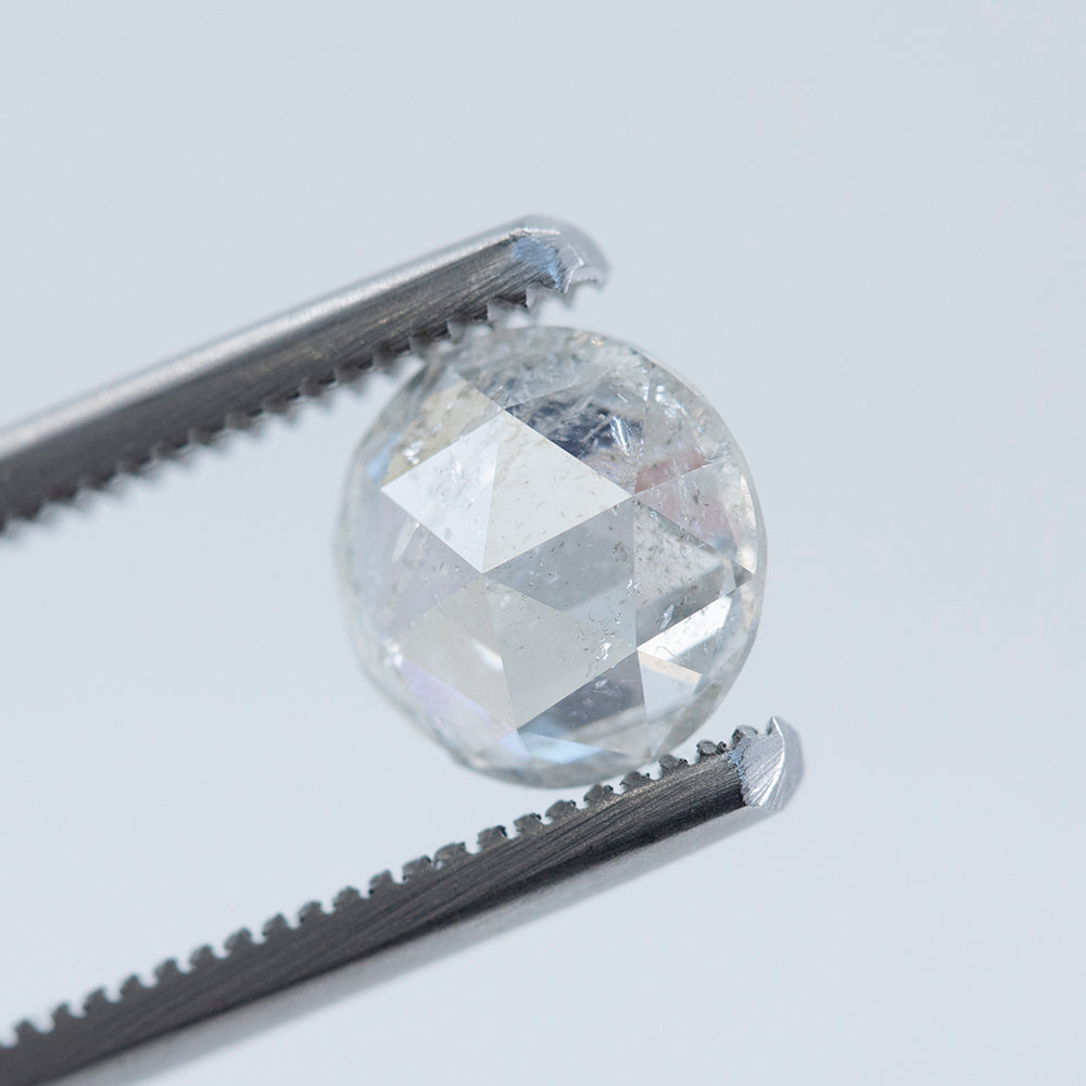 1.67CT ROUND ROSECUT DIAMOND, WHITE CLEAR, 7.58X3.62MM