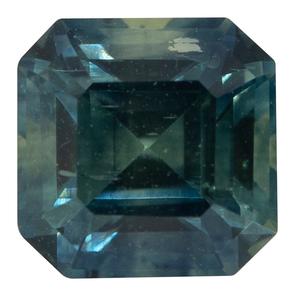 1.68CT ASSCHER CUT MONTANA SAPPHIRE, PARTI TEAL BLUE YELLOW, 6MM