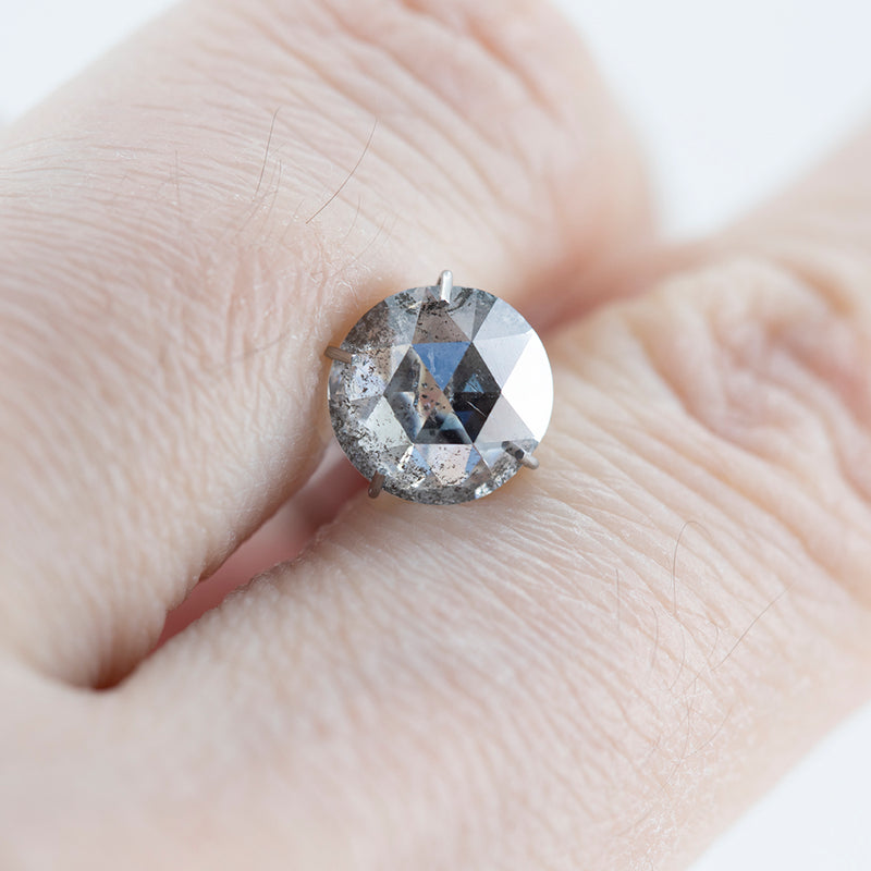 1.68CT ROUND ROSECUT SALT AND PEPPER DIAMOND, CLEAR WITH GREY INCLUSIONS, 7.43MM