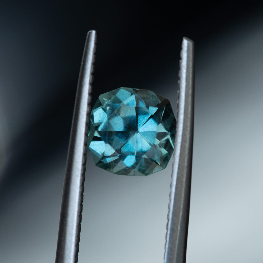 1.69CT SQUARE CUSHION MONTANA SAPPHIRE, TEAL BLUE GREEN, 6.50X4MM, UNTREATED