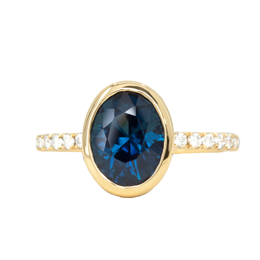 2.53ct Oval Blue Nigerian Sapphire Low Profile Bezel with French Set Diamonds 18k Yellow
