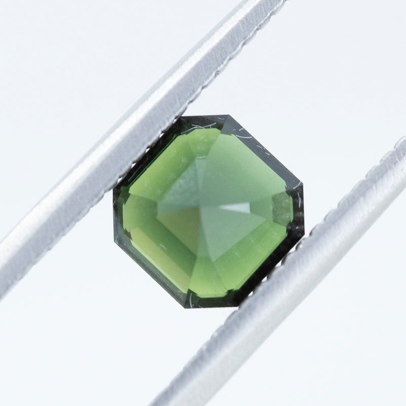 1.70CT ASSHER CUT AUSTRALIAN SAPPHIRE, DARK GREEN, UNHEATED, 6.45X6.5MM