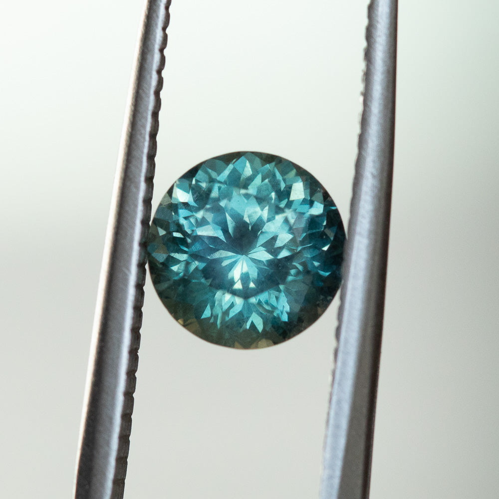Temporary Hold-1.71CT ROUND MONTANA SAPPHIRE, TEAL BLUE GREEN, 7MM, UNTREATED