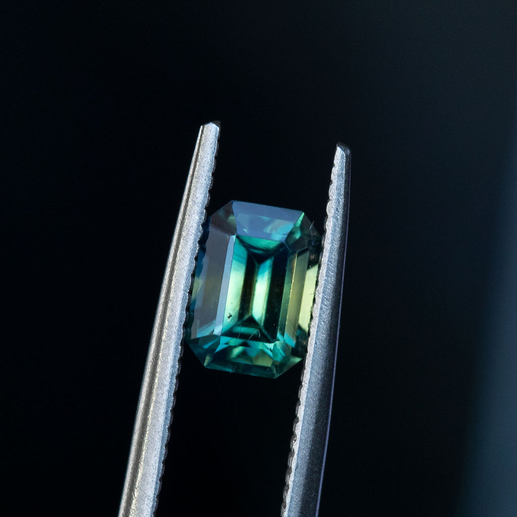 1.74CT MADAGASCAR EMERALD CUT SAPPHIRE, PARTI BLUE GREEN YELLOW, UNTREATED, 7.44X5.28MM